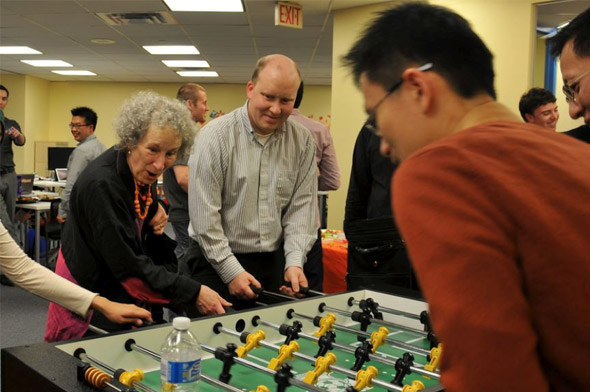 Margaret Atwood playing table football