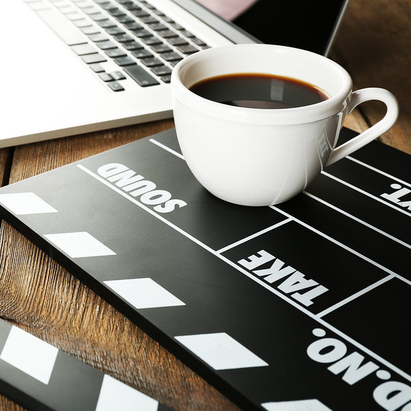 Clapperboard and laptop