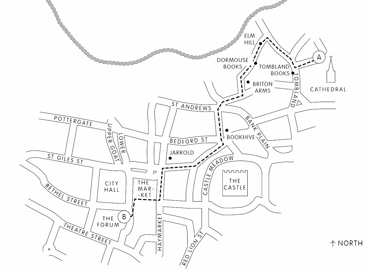 Norwich by the Book(shop) map